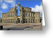 Shadows Greeting Cards - Semper Opera House - Semperoper Dresden Greeting Card by Christine Till