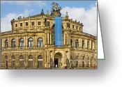 Opera Greeting Cards - Semper Opera House Dresden Greeting Card by Christine Till