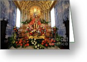 Jesus Christ Icon Greeting Cards - Senhor Bom Jesus da Pedra Greeting Card by Gaspar Avila