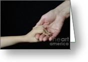 Assistance Greeting Cards - Senior woman and girl holding hands Greeting Card by Sami Sarkis
