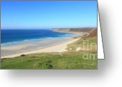 Kernow Greeting Cards - Sennen Cove - Panoramic Greeting Card by Carl Whitfield
