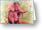 Jessica Grundy Greeting Cards - Senora Beatriz el elefante rosa Greeting Card by Jessica Grundy