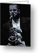 Man Pastels Greeting Cards - Sensational Sax Greeting Card by Richard Young