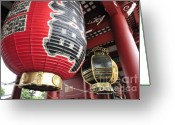Buddhist Temple Greeting Cards - Sensoji Lanterns Greeting Card by Andy Smy