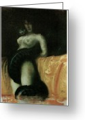 Snake Painting Greeting Cards - Sensuality Greeting Card by Franz Von Stuck