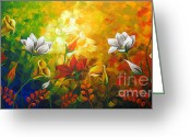 Landscape Framed Prints Greeting Cards - Sentient Flowers Greeting Card by Uma Devi