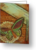 Ephemera Collage Greeting Cards - Sentiments Greeting Card by Kathy Cameron