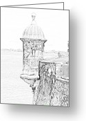 Destinations Digital Art Greeting Cards - Sentry Tower Castillo San Felipe Del Morro Fortress San Juan Puerto Rico Line Art Black and White Greeting Card by Shawn OBrien