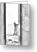 Destinations Digital Art Greeting Cards - Sentry Tower View Castillo San Felipe Del Morro San Juan Puerto Rico Black and White Line Art Greeting Card by Shawn OBrien