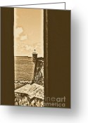 Rustic Greeting Cards - Sentry Tower View Castillo San Felipe Del Morro San Juan Puerto Rico Rustic Greeting Card by Shawn OBrien