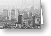 Cityscape Pyrography Greeting Cards - Seoul South Korea 2012 Greeting Card by Eduard Kraft