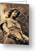 Angel Statue Greeting Cards - Sepia Angel Greeting Card by Gothicolors With Crows