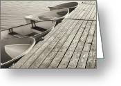 Row Boat Greeting Cards - Sepia Dinghys Greeting Card by John Greim