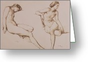 Nudes Greeting Cards - Sepia Drawing of Nude Woman Greeting Card by William Mulready