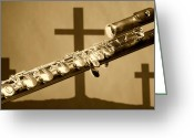 Mac Miller Greeting Cards - Sepia Flute With Crosses Greeting Card by M K  Miller