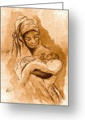 African American Art Drawings Greeting Cards - Sepia Madonna Greeting Card by George Nock