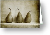 Art On Wall Greeting Cards - Sepia Pears Greeting Card by Linde Townsend