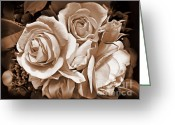 Dark Brown Greeting Cards - Sepia Rose Flower Bouquet Greeting Card by Jennie Marie Schell