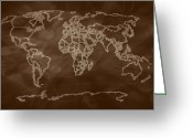 Earth Map Greeting Cards - Sepia Shades World Map digital art Greeting Card by Georgeta  Blanaru