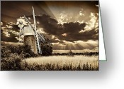 Sepia Toned Greeting Cards - Sepia Sky Windmill Greeting Card by Meirion Matthias