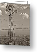 Oklahoma Landscape Greeting Cards - Sepia WIndmill and Tank Greeting Card by Tony Grider