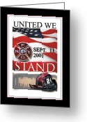 United We Stand Greeting Cards - September 11 2001 Greeting Card by Nick Diemel