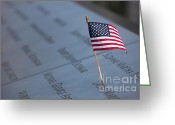September 11 Greeting Cards - September 11 Memorial Flag II Greeting Card by Clarence Holmes