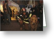 Disasters Greeting Cards - September 11th Rescue Workers Receive Greeting Card by Ira Block