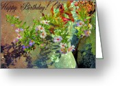 Aster  Photo Greeting Cards - September Birthday Aster Greeting Card by Kristin Elmquist