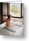 Nudes Greeting Cards - September Morning Greeting Card by John Worthington