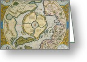 Old Map Drawings Greeting Cards - Septentrionalium Terrarum descriptio Greeting Card by Gerardus Mercator