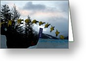 Snow Board Greeting Cards - Sequence  of a snowboarder at the Telus snowboard festival Whistler 2010 Greeting Card by Pierre Leclerc