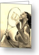 Championship Drawings Greeting Cards - Serena in Sepia Greeting Card by Carol Allen Anfinsen