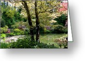 Pond Reflection Greeting Cards - Serene Garden Retreat Greeting Card by Carol Groenen