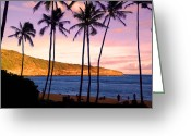 People Pyrography Greeting Cards - Serene Waimea Bay Greeting Card by Shirley Tinkham