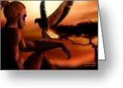 African Warrior Greeting Cards - Serengeti Sunset Greeting Card by Carol Cavalaris