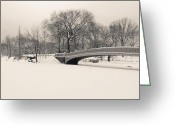 Winter Trees Greeting Cards - Serenity - Bow Bridge in the Snow - Central Park Greeting Card by Vivienne Gucwa