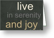 Tan Greeting Cards - Serenity and Joy Greeting Card by Linda Woods