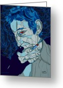Singer Drawings Greeting Cards - Serge Gainsbourg Greeting Card by Suzanne Gee
