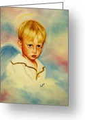 Angel Greeting Cards - Serious Angel Greeting Card by Joni McPherson