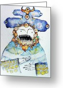 Primitive Mixed Media Greeting Cards - Sermon At High Noon Greeting Card by Mark M  Mellon