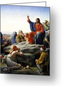 Poster Greeting Cards - Sermon On The Mount Greeting Card by Carl Bloch