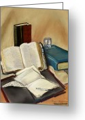 Pen Pastels Greeting Cards - Sermon Preparation Greeting Card by Rita Lackey