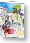 Travel Drawings Greeting Cards - Serpa  Portugal 05 bis Greeting Card by Miki De Goodaboom