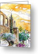 Travel Drawings Greeting Cards - Serpa  Portugal 10 Greeting Card by Miki De Goodaboom