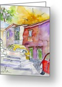 Travel Drawings Greeting Cards - Serpa  Portugal 12 Greeting Card by Miki De Goodaboom