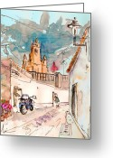 Travel Drawings Greeting Cards - Serpa  Portugal 22 Greeting Card by Miki De Goodaboom