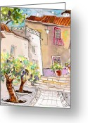 Travel Drawings Greeting Cards - Serpa  Portugal 36 Greeting Card by Miki De Goodaboom