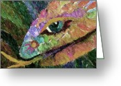 Jungle Snake Greeting Cards - Serpens Greeting Card by Linda Cornelius