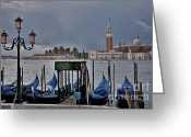 Venetian Architecture Greeting Cards - Servizio Gondole Danieli Greeting Card by Heiko Koehrer-Wagner